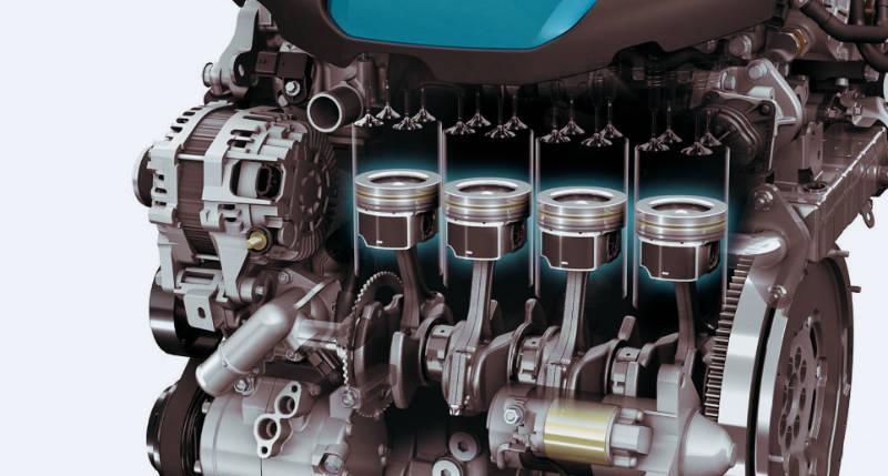 Четыре цилиндра двигателя